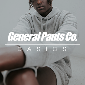 Male model wearing a grey hoodie and shorts with general pants co. basics text over the top