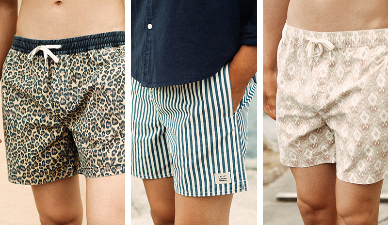 Three seperate photos of models in boardshorts which (from left to right) have an animal stripe and patterned print.