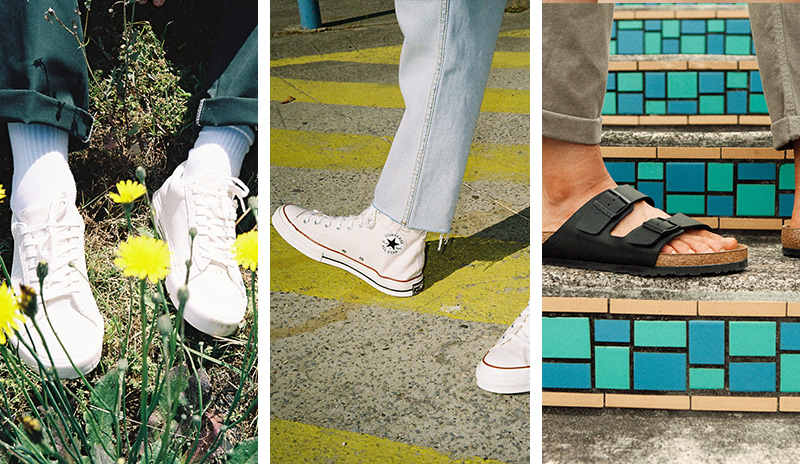 Three photos of shoes featuring (from left to right) Van sneakers, Converse sneakers and Birkenstocks sandals.