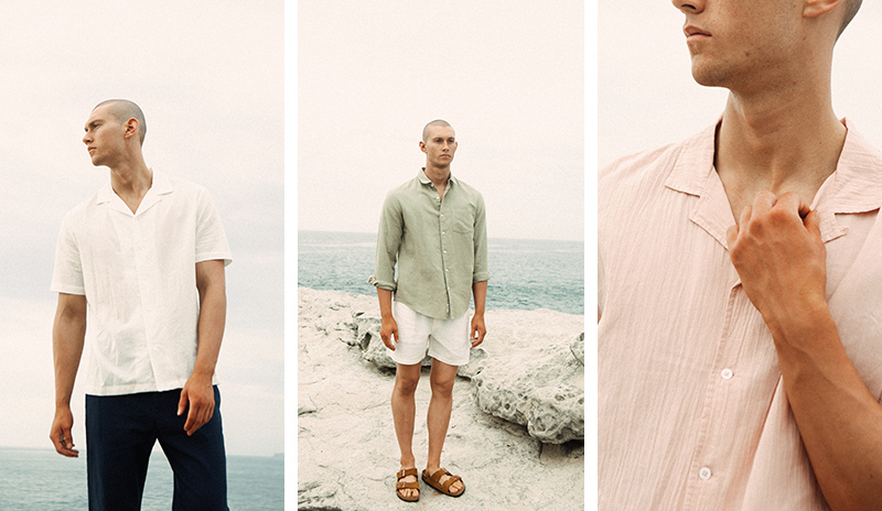 Three pictures of the same model wearing a white, green and pink linen shirt with shorts at the beach.