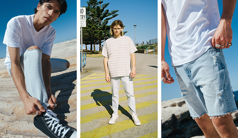 Three photos of three different models (from left to right) models wearing white t-shirt with denim jeans and Converse sneakers, wearing jeans and t-shirt standing in a car park, wearing denim shorts and white t-shirt.