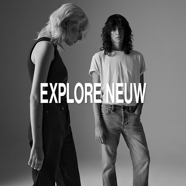 Two models in a black and white photo with Explore Neuw text.
