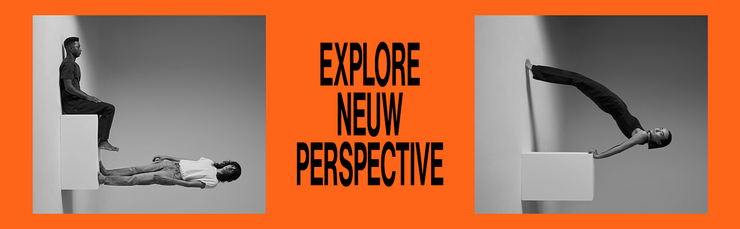 Orange background with black and white imagery of models and a slogan saying Explore Neuw Perspective