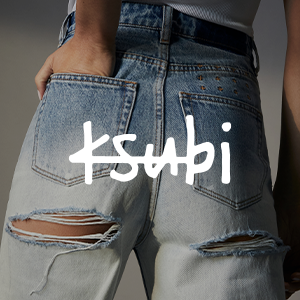 close up photo of blue jeans with rips at the back with ksubi white text over the top